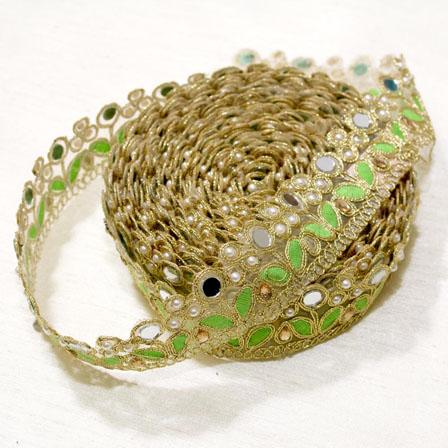 9 MTR Roll of Golden and Green Leaf Design Zari Beaded Decorative Trim-4037