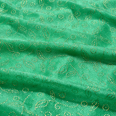 Golden and Green Leaf Pattern Lycra Fabric-6516
