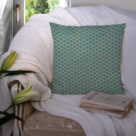 Golden and Green Silk Cushion Cover-35050