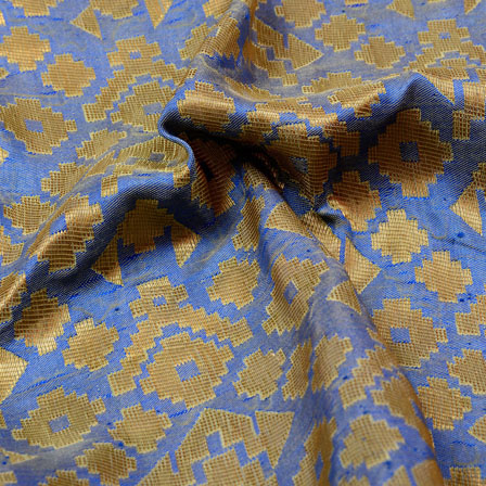 Golden and Light Blue Zig-Zag Pattern Brocade Silk Fabric-5339