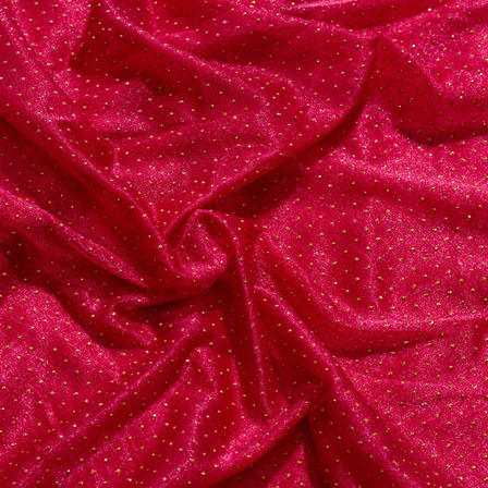 Golden and Maroon Pearls Design Lycra Fabric-6543