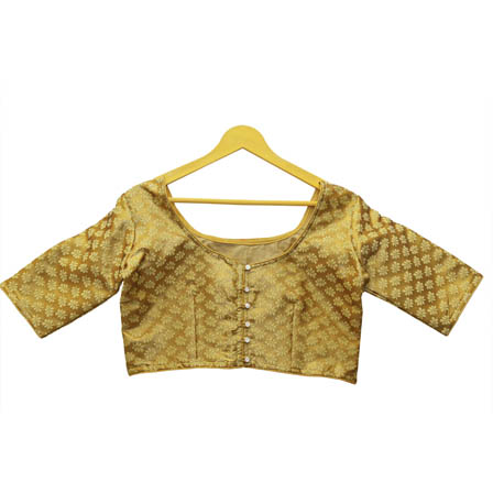 Golden and Olive Green Leaf Silk Brocade Blouse-30133