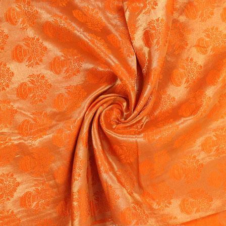 Golden and Orange Brocade Silk Fabric-8868