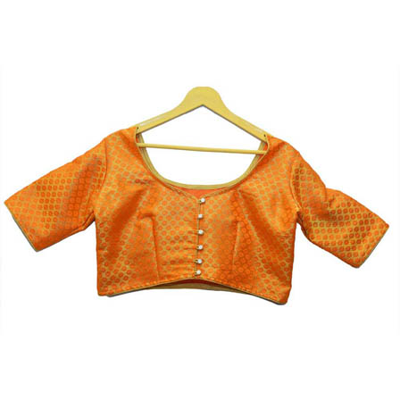 Golden and Orange Small Floral Silk Brocade Blouse-30126