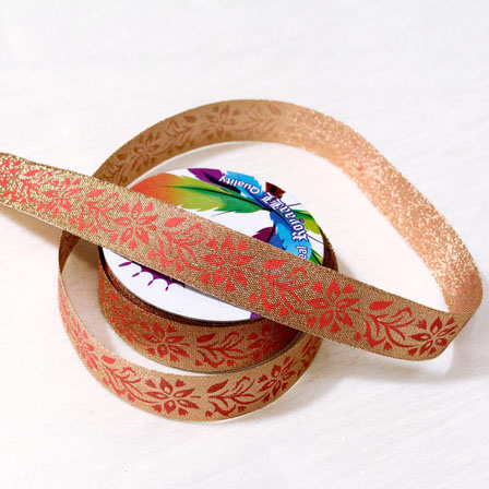 9 MTR Roll of Golden and Peach Flower Design Jacquard Ribbon-4071