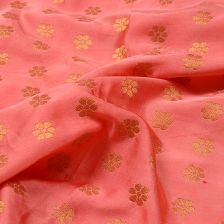 Golden  and Peach Small Flower Design Brocade Silk Fabric-5362