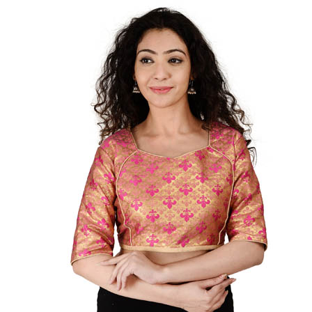 Golden and Pink Elbow Sleeve Silk Brocade Blouse-30180