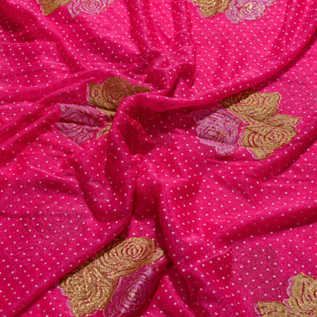 Golden and Pink Flower Shape Lycra Fabric-6539
