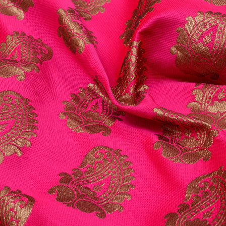 Golden and Pink Paisley design Brocade Silk Fabric-5318