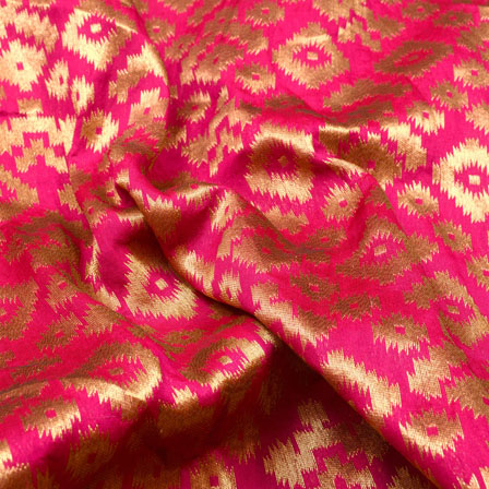 Golden and Pink Unique Shape Brocade Silk Fabric-5403