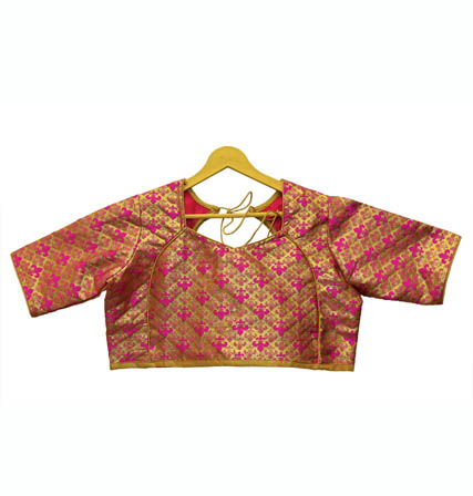 Golden and Pink Unique Silk Brocade Blouse-30120