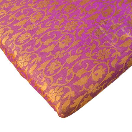 Golden and Purple Floral Design Brocade Silk Fabric-8245