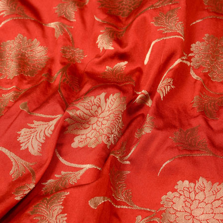 Golden and Red Leaf Shape Brocade Silk Fabric-5370