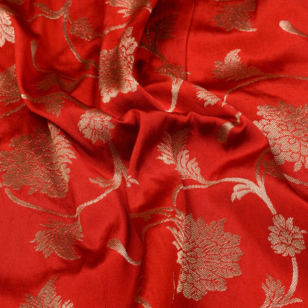 Golden and Red Paisley Floral Shape Brocade Silk Fabric-5325