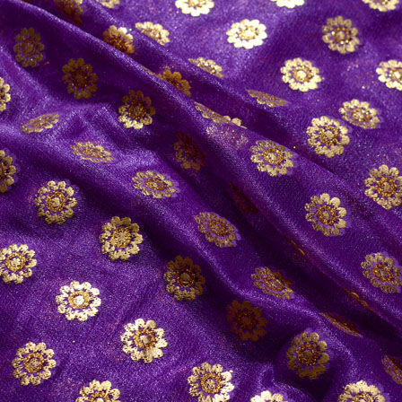 Golden and Violet Flower Pattern Lycra Fabric-6552