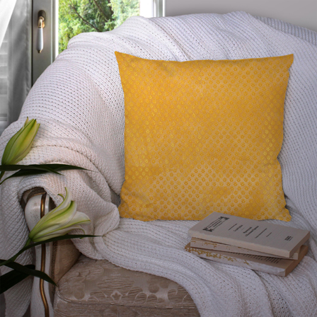 Golden and Yellow Silk Cushion Cover-35047