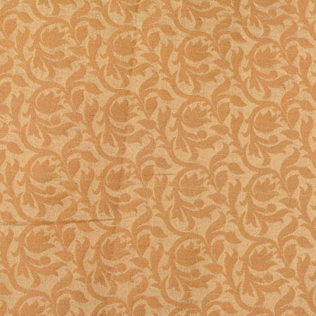 Golden kalamkari flower shape brocade silk fabric-4664