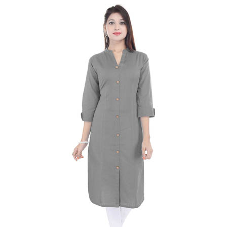 Gray 3/4 Sleeve Solid Cotton Kurti-3040