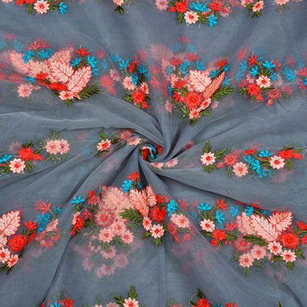 Gray Beige Floral Net Embroidery Silk Fabric-18895