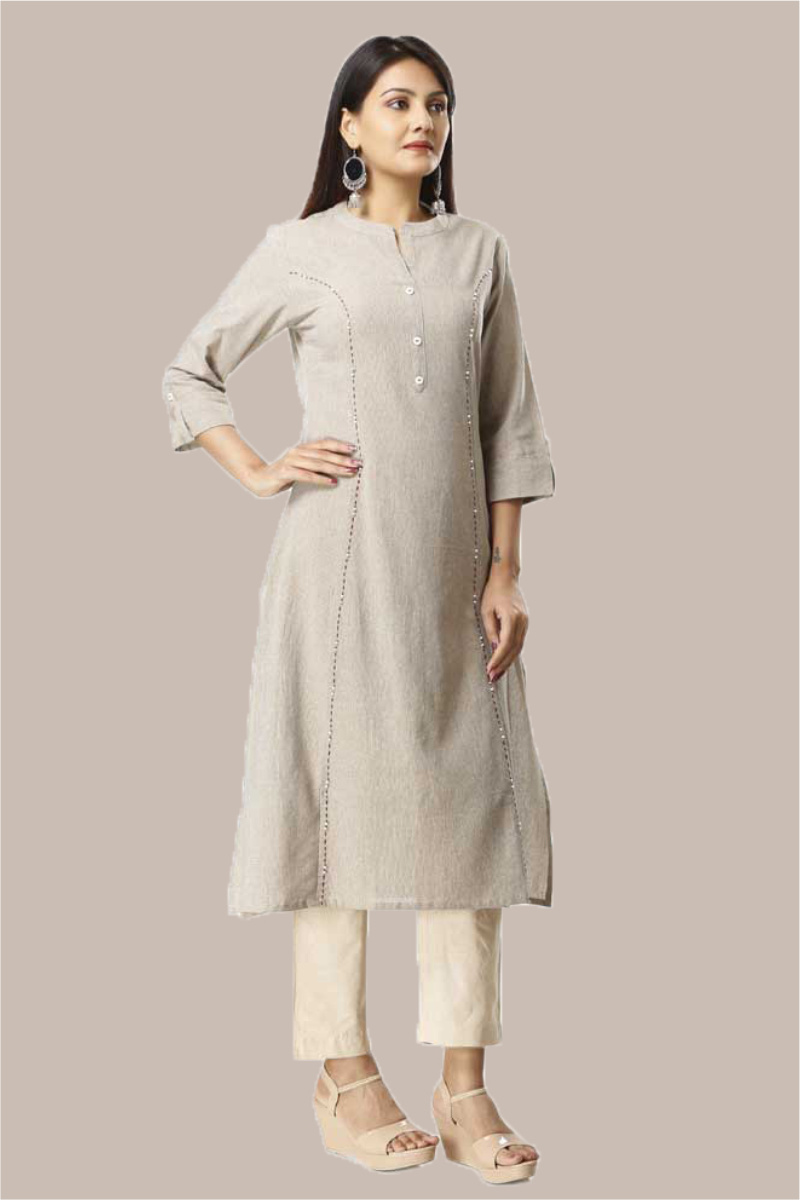 Kurta Pant Set-Gray Beige Handloom Cotton Kurta Plain Ankle Length Pant Set-33744