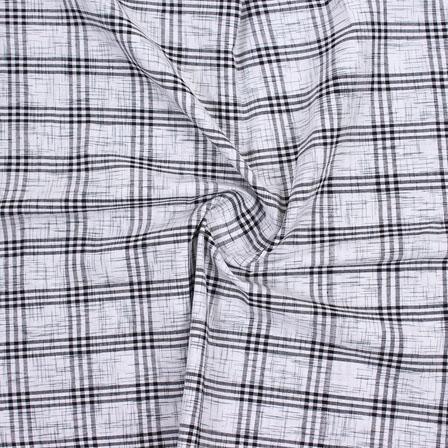 Gray Black Check Handloom Cotton Fabric-40616