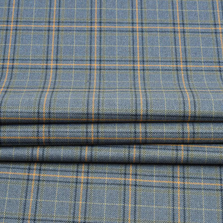 Gray Black Check Wool Fabric-90111