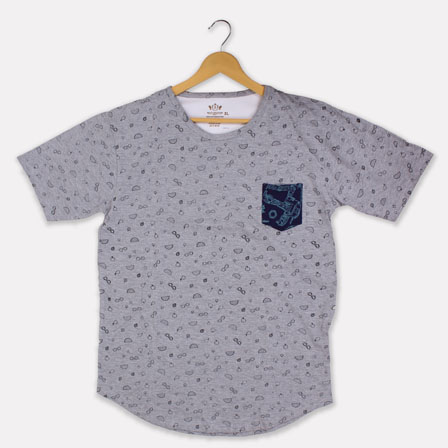 Gray Black Cotton T-shirt-33374