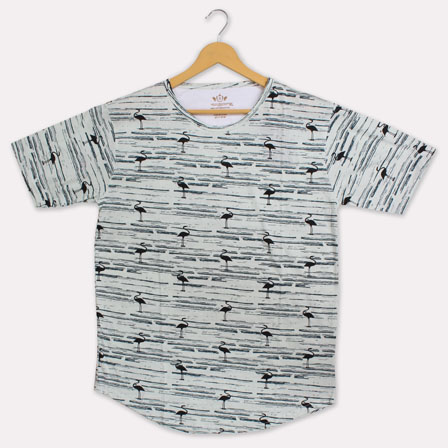Gray Black Cotton Crane T-shirt-33361