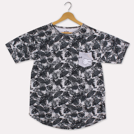 Gray Black Cotton Fern T-shirt-33382