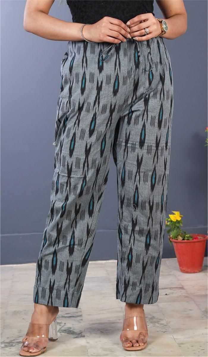 Gray Black Cotton Ikat Ankle Women Pant-34678