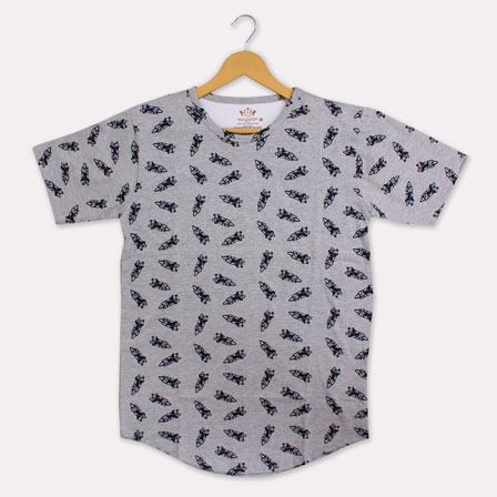 Gray Black Cotton Rocket T-shirt-33367