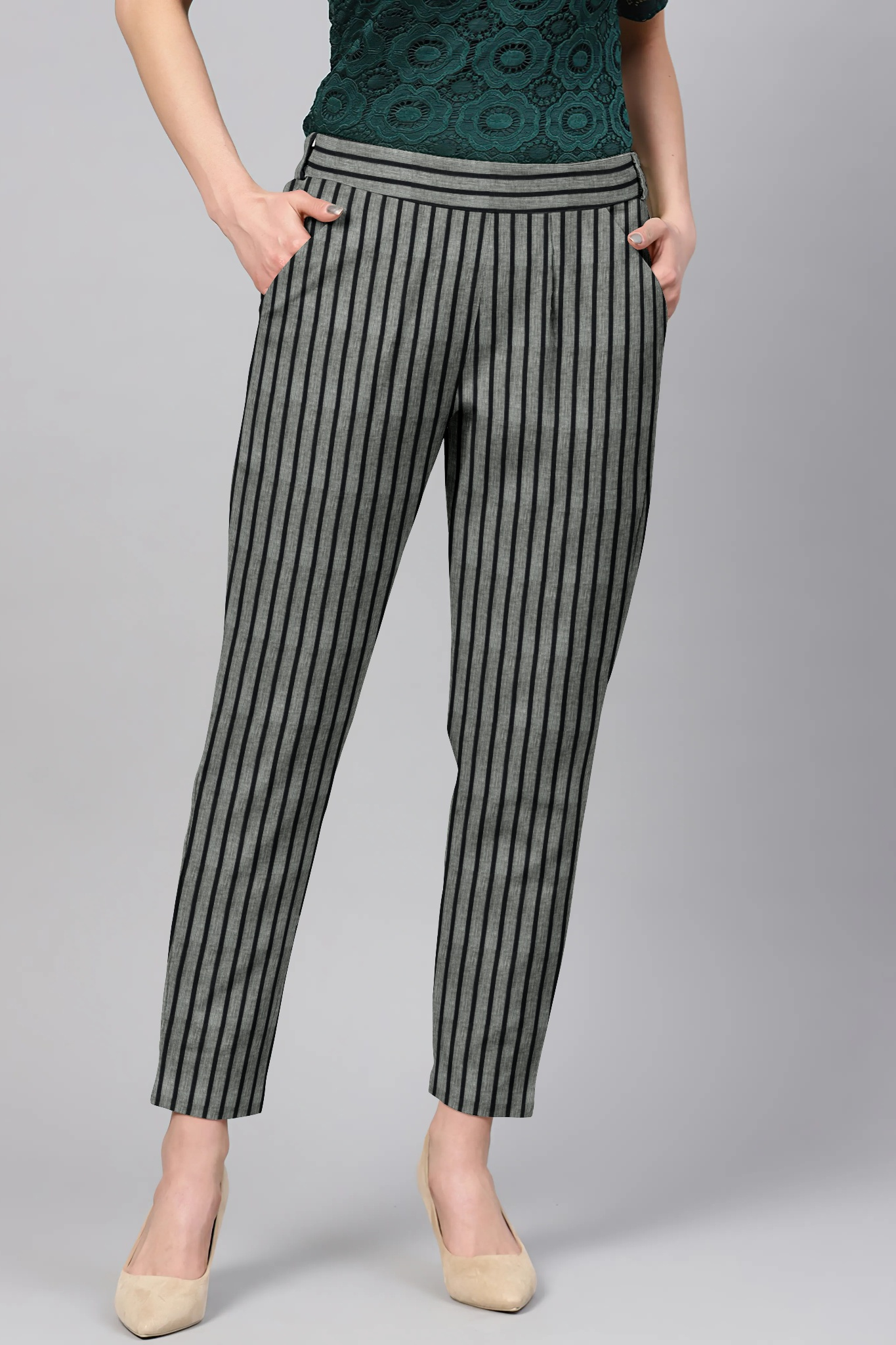 Gray Black Cotton Stripe Regular Fit Solid Trouser-36051