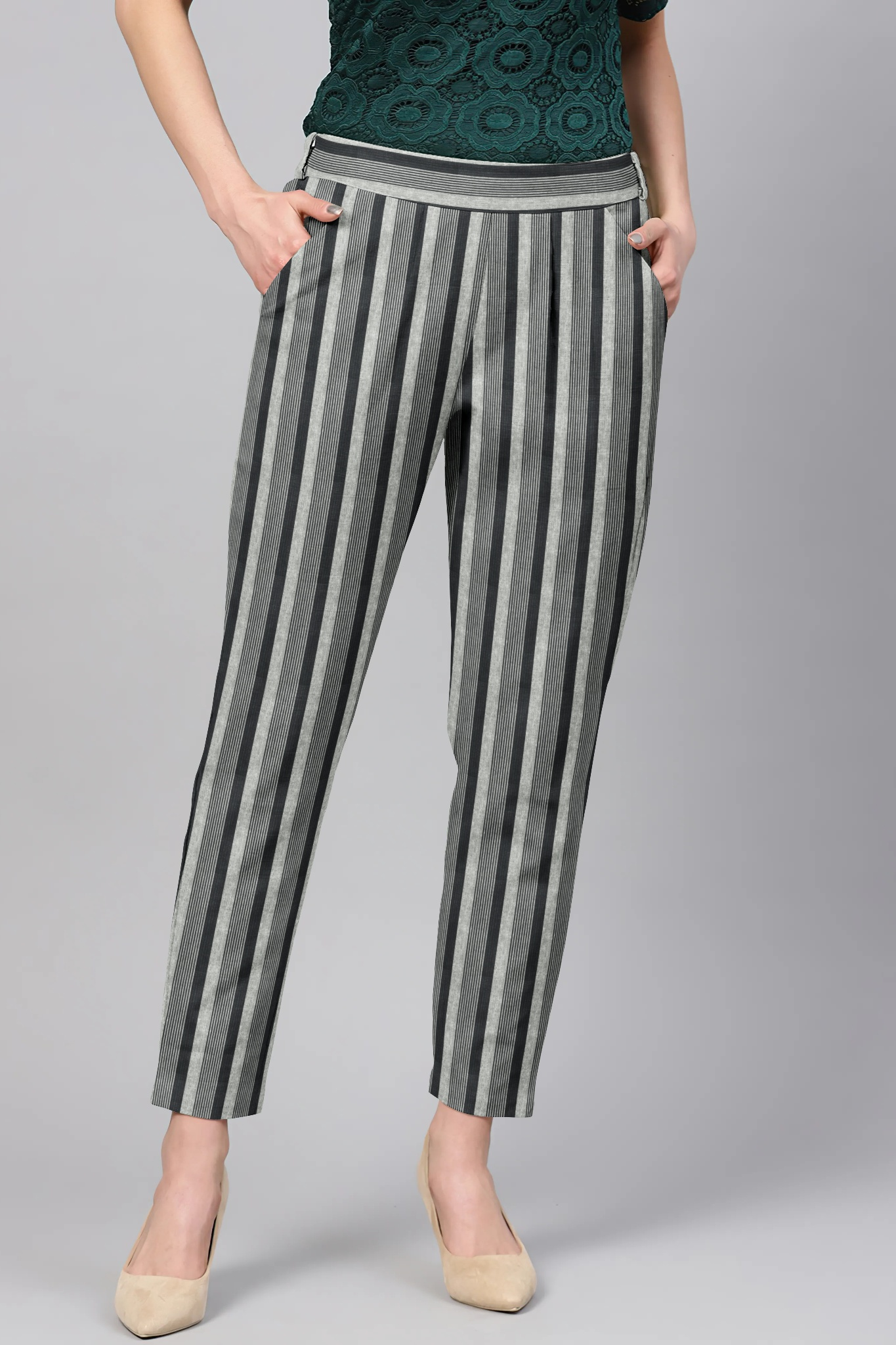 Gray Black Cotton Stripe Regular Fit Solid Trouser-36092