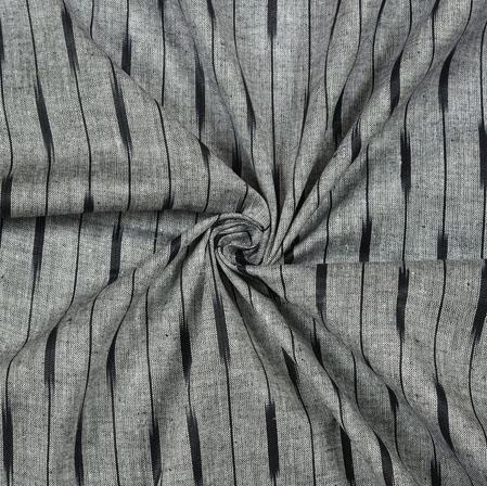 Gray Black Ikat Cotton Fabric-11108