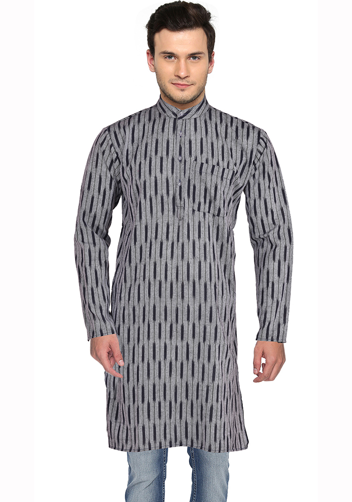 Gray Black Ikat Cotton Khadi Long Kurta-33159