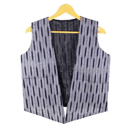 Gray Black Sleeveless Ikat Cotton koti jacket-12277