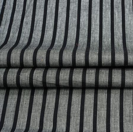 Gray Black Stripe Handloom Cotton Fabric-41004