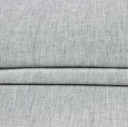 Gray Black Stripe Handloom Cotton Fabric-42451