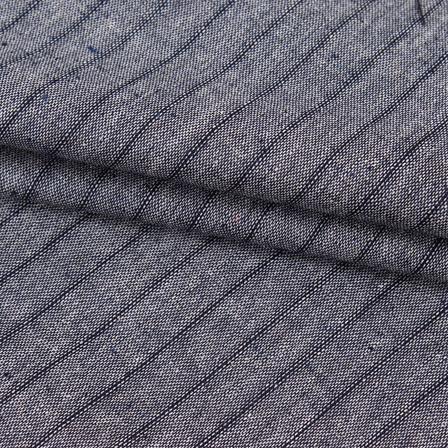 Cotton Shirt (2.25 Meter)-Gray Black Striped Handloom-140717