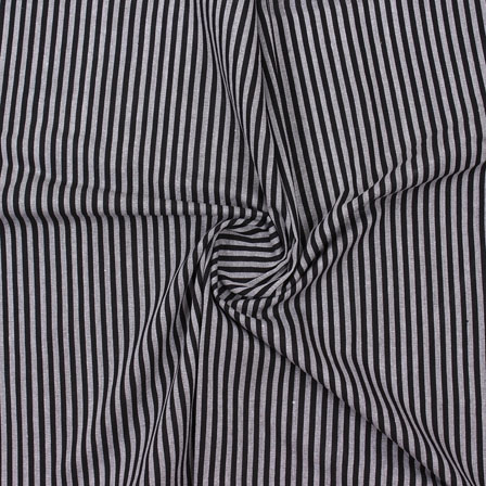 Gray Black Striped Handloom Khadi Cotton Fabric-40740