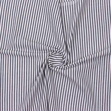 Gray Black Striped Handloom Khadi Cotton Fabric-40741
