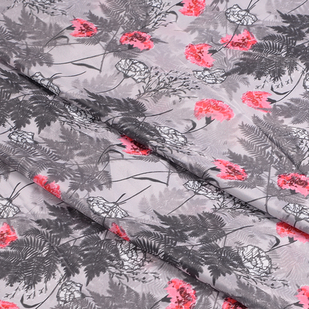 Gray-Black and Pink Flower Silk Crepe Fabric-18112