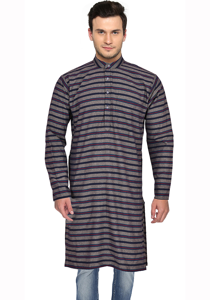 Gray Black and Red Stripes Handloom Khadi Long Kurta-33161