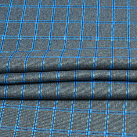 Gray Blue Check Wool Fabric-90110