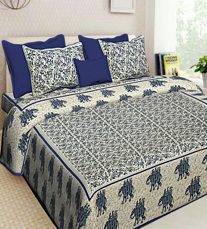 Gray Blue Cotton Jaipuri Bedsheet-636