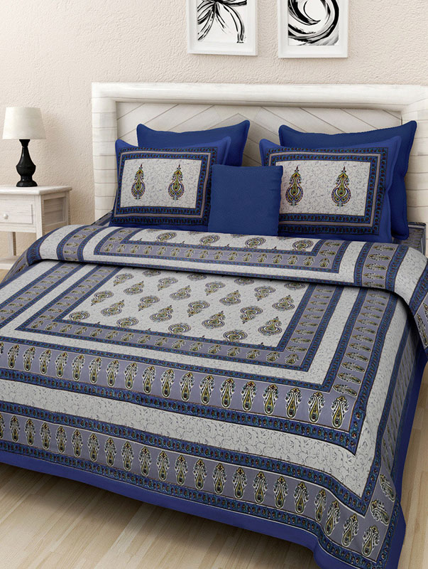 Gray Blue Cotton Jaipuri Bedsheet-672