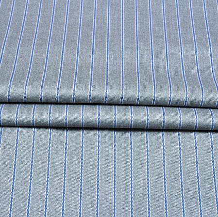Gray Blue Stripe Wool Fabric-90196