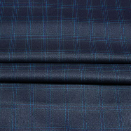 Gray Blue Checks Wool Fabric-90251
