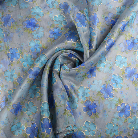 Gray-Blue and Golden Flower Organza Print Fabric-51294