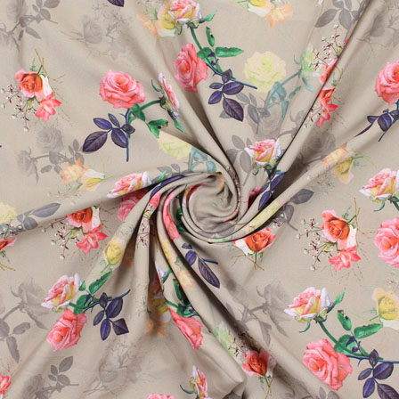 Gray Blue and Pink Flower Rayon Fabric-15079
